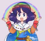 belt blue_hair cape cloak dress eyebrows_visible_through_hair happy keb00b multicolored multicolored_clothes multicolored_dress multicolored_eyes multicolored_hairband open_mouth patchwork_clothes rainbow rainbow_gradient red_button sky_print tattered_cape tenkyuu_chimata touhou two-sided_cape two-sided_fabric unconnected_marketeers white_cape zipper