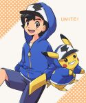 1boy :d ao_anpk ash_ketchum baseball_cap black_hair brown_eyes clothed_pokemon commentary_request copyright_name cosplay gen_1_pokemon grin hat hatted_pokemon hood hood_up hooded_jacket jacket long_sleeves looking_at_viewer male_focus open_mouth pikachu pikachu_(cosplay) pokemon pokemon_(anime) pokemon_(creature) pokemon_(game) pokemon_unite shirt short_hair shorts smile teeth tongue upper_teeth white_shirt zipper_pull_tab