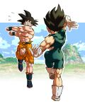 2boys abs ankle_boots arm_at_side arm_behind_head arm_up ass black_bodysuit black_eyes black_hair blue_footwear blue_sky blue_wristband bodysuit boots border clenched_hands clenched_teeth clouds cloudy_sky dancing day dragon_ball dragon_ball_super dragon_ball_super_broly dragon_ball_z facing_away flying_sweatdrops from_behind fusion_dance gloves grass ground highres leg_up mountain multiple_boys muscular muscular_male narrow_waist nervous orange_pants outdoors outline outstretched_arms pants pea-bean pectorals rock rope sidelighting sky smile son_goku spiky_hair standing standing_on_one_leg teeth torn_bodysuit torn_clothes torn_pants vegeta vignetting white_border white_footwear white_gloves white_outline wristband