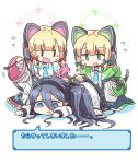 3girls :d animal_ears arisu_(blue_archive) bangs black_hair black_hairband blonde_hair blue_archive blue_eyes blue_neckwear cable cat_ear_headphones collared_shirt controller eyebrows_visible_through_hair eyes_visible_through_hair fake_animal_ears flying_sweatdrops game_controller green_eyes guriin hair_between_eyes hairband headphones highres holding jacket long_hair long_sleeves lying midori_(blue_archive) momoi_(blue_archive) multiple_girls necktie on_stomach open_clothes open_jacket open_mouth shirt smile translation_request very_long_hair wavy_mouth white_background white_jacket white_shirt  _    _  