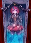 1girl absurdres beige_cardigan black_suit box cardigan chain crying crying_with_eyes_open cuffs dangan_ronpa_(series) dangan_ronpa_v3:_killing_harmony feet_out_of_frame glass_block_wall hair_ornament handcuffs highres lock red_eyes red_skirt redhead riyuta school_uniform skirt tearing_up tears water what_if yumeno_himiko