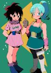 2girls ankle_boots arm_at_side arm_behind_back armor bangs bare_arms belt black_eyes black_hair black_legwear blue_eyes blue_footwear blue_hair blunt_bangs blush_stickers boots brown_belt brown_gloves bulma butcher_knife character_name closed_mouth clothes_writing collarbone cosplay costume_switch dragon_ball dragon_ball_(classic) dragon_ball_minus dragon_ball_super dragon_ball_super_broly dragon_radar dress eyebrows_visible_through_hair eyelashes facing_viewer fanny_pack full_body gine gloves green_background green_skirt hair_between_eyes hair_ribbon hair_strand hair_tubes hand_on_hip hand_up high_ponytail highres holding kachu knee_boots knife legs_together loose_socks medium_hair messy_hair multiple_girls open_mouth pantyhose pink_dress pink_wristband ponytail purple_legwear purple_neckwear purple_scarf red_ribbon ribbon saiyan_armor scarf shadow short_dress side-by-side sidelighting sideways_glance simple_background skirt smile socks standing star_(symbol) starry_background striped striped_dress tareme triangle tsurime vertical-striped_dress vertical_stripes white_footwear wristband