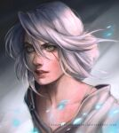 1girl bangs ciri close-up collarbone commentary deviantart_username english_commentary eyebrows fatineaouiniya freckles grey_background hair_between_eyes light_particles lips looking_at_viewer medium_hair parted_lips scar scar_across_eye shirt silver_hair simple_background solo the_witcher_(series) the_witcher_3 upper_body white_shirt yellow_eyes