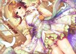 1girl braid breasts brown_eyes brown_hair bug butterfly covered_nipples detached_sleeves dress dutch_angle hair_ornament highres idolmaster idolmaster_cinderella_girls insect jewelry long_hair looking_at_viewer ment open_mouth ring shiny shiny_hair single_braid skirt_hold small_breasts smile solo takamori_aiko wedding_ring wooden_door