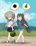 2girls annin_musou barefoot beamed_sixteenth_notes black_hair black_sailor_collar black_skirt blue_eyes blue_ribbon blue_shirt blush brown_shorts butterfly_net closed_eyes clothes_writing day eighth_note food fruit hair_between_eyes hair_ribbon hand_net hat headgear holding holding_butterfly_net i-203_(kancolle) i-47_(kancolle) insect_cage kantai_collection long_hair low-tied_long_hair multiple_girls musical_note neckerchief open_mouth ribbon sailor_collar sandals shirt short_sleeves shorts sidelocks silver_hair skirt smile sun_hat tress_ribbon watermelon yellow_neckwear