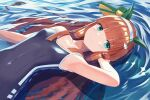 1girl akabane_hibame animal_ears aqua_eyes bad_anatomy bad_perspective bangs bare_arms bare_shoulders black_swimsuit blunt_bangs closed_mouth eyebrows_visible_through_hair hairband highres horse_ears horse_girl long_hair looking_at_viewer lying_on_water one-piece_swimsuit orange_hair partially_submerged silence_suzuka_(umamusume) solo swimsuit umamusume upper_body water white_hairband
