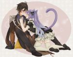 1boy 1girl alternate_costume animal_ears antenna_hair apron bangs black_gloves blush bow braid brown_hair cat_ears cat_tail chinese_knot coat contemporary eyeliner frilled_shirt_collar frilled_sleeves frills furrowed_brow genshin_impact gloves gradient_hair hair_bow hand_on_another's_chest hand_on_another's_chin hand_on_floor heart highres index_finger_raised jewelry keqing_(genshin_impact) kneeling leaning_forward long_hair long_sleeves looking_at_another maid makeup multicolored_hair necktie open_clothes open_coat open_mouth orange_hair pants purple_hair ring saku_(ladyfubuki) shoes short_sleeves sidelocks sitting skirt sweatdrop tail thigh-highs twintails twitter_username violet_eyes wavy_mouth white_legwear yellow_eyes zhongli_(genshin_impact)