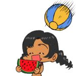 1girl arung_samudra_(cessa) ball beachball cessa closed_eyes dark-skinned_female dark_skin food fruit holding holding_food holding_fruit lowres ombok_diving_and_delivery_services open_mouth simple_background smile solo watermelon_slice white_background