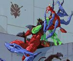 1990s_(style) 1boy arthropod_legs asymmetrical_arms beast_wars beast_wars:_transformers bug chemicals insect insect_wings insecticon locust marble-v mecha organic predacon red_eyes retro_artstyle scientist scourge_(beast_wars) scourge_(transformers) sitting symbol test_tube transformers wall wings