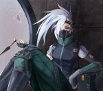 0sei6 1girl against_wall akali arm_rest black_mask black_shirt breasts broken_glass dagger fingerless_gloves glass gloves green_pants grey_shirt hair_over_one_eye headband highres holding holding_dagger holding_knife holding_weapon knee_pads knees_up knife kunai league_of_legends looking_at_viewer mask mouth_mask ninja_mask pants red_eyes shirt silver_hair silverfang_akali single_sleeve sitting solo striped_headband weapon