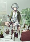 1girl alchemy_stars bamboo branch brown_footwear closed_mouth commentary_request formal full_body green_eyes green_jacket grey_hair highres holding holding_branch jacket jacket_on_shoulders jewelry long_sleeves looking_at_viewer necklace oxfords plaid plaid_shorts plant potted_plant shadow shelf shirt shoes short_hair shorts sitting sock_garters socks solo stool suit sylva_(alchemy_stars) watering_can white_legwear white_shirt yoruhachi