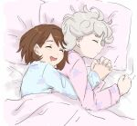 1boy 1girl banana_jirou bangs bede_(pokemon) blonde_hair blue_shirt bob_cut brown_hair character_print closed_eyes closed_mouth curly_hair fingernails gen_8_pokemon gloria_(pokemon) hatenna head_on_pillow holding_hands long_sleeves lying mouth_drool on_side open_mouth pajamas pillow pink_shirt pokemon pokemon_(game) pokemon_swsh shirt short_hair sleeping symbol-only_commentary under_covers upper_body