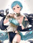 1girl alternate_costume armlet blue_hair book bracelet braid breasts brown_eyes closed_mouth confetti crown_braid dancer dancer_(three_houses) dress earrings fire_emblem fire_emblem:_three_houses fire_emblem_heroes haru_(nakajou-28) highres holding holding_book jewelry lips looking_at_viewer marianne_von_edmund official_alternate_costume pelvic_curtain pink_lips shawl short_hair sleeveless sleeveless_dress smile solo thighs