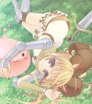 1girl :3 animal_ears armor armored_boots bangs blonde_hair blush boots breastplate brown_legwear closed_mouth commentary_request cross dress eyebrows_visible_through_hair feet_out_of_frame grass hair_between_eyes horned_headwear horns kneehighs knight_(ragnarok_online) long_hair looking_at_viewer lying nia_(littlestars) on_ground on_side pauldrons poring ragnarok_online shoulder_armor slime_(creature) smile sword vambraces violet_eyes weapon white_dress