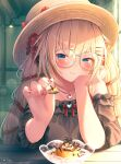1girl akai_haato bangs black_dress blonde_hair commentary_request dress glasses hat highres holding holding_spoon hololive long_hair long_sleeves magowasabi solo spoon sun_hat virtual_youtuber