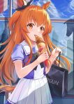 1girl akabane_hibame animal_ears bag blush day eyebrows_visible_through_hair fingernails food food_on_face hair_between_eyes highres holding holding_bag holding_food horse_ears horse_girl horse_tail ice_cream long_hair mayano_top_gun_(umamusume) nail_polish orange_eyes orange_hair orange_nails paper_bag pleated_skirt school_uniform short_sleeves skirt solo tail tongue tongue_out tracen_school_uniform two_side_up umamusume upper_body white_skirt window
