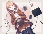 1girl :o bangs black_legwear blunt_bangs brown_eyes brown_hair brown_jacket brown_skirt collared_shirt commentary_request controller dangan_ronpa_(series) dangan_ronpa_3_(anime) dress_shirt eyebrows_visible_through_hair from_above galaga game_boy game_console game_controller glasses hair_ornament handheld_game_console hands_together highres hope's_peak_academy_school_uniform inase_(inasenanaki) jacket long_sleeves looking_at_viewer lying medium_hair miniskirt nanami_chiaki neck_ribbon nintendo_ds on_back open_clothes open_mouth pleated_skirt red_neckwear ribbon school_uniform shiny shiny_hair shirt simple_background skirt solo thigh-highs white_shirt wii_remote zettai_ryouiki