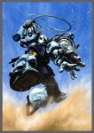 arm_cannon gouf gundam gundam_thunderbolt highres holding holding_whip mecha mobile_suit no_humans official_art ohtagaki_yasuo one-eyed open_hand sand sky solo weapon zeon