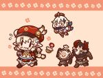 2girls backpack bag bag_charm bloomers blush_stickers boots brown_footwear brown_gloves brown_scarf cabbie_hat charm_(object) chibi clover_print coat dodoco_(genshin_impact) dress eating fleeing floating food full_body genshin_impact gloves hair_ornament hat hilichurl_(genshin_impact) holding holding_spoon kirari_chito klee_(genshin_impact) knee_boots kneehighs light_brown_hair low_twintails mechanical_halo multiple_girls paimon_(genshin_impact) plate pointy_ears randoseru red_coat red_headwear running scarf spoon twintails underwear v-shaped_eyebrows white_dress white_hair