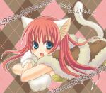 1girl :d animal_ears animal_hands argyle argyle_background bangs blue_eyes blush brown_background brown_cape brown_dress cape cat_day cat_ears cat_girl cat_tail commentary_request crossed_arms dress eyebrows_visible_through_hair fang fur-trimmed_cape fur_trim gloves hair_between_eyes high_wizard_(ragnarok_online) kemonomimi_mode long_hair looking_at_viewer lying nia_(littlestars) on_stomach open_mouth paw_gloves pink_background pink_hair ragnarok_online smile solo tail translation_request upper_body