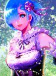 1girl blue_eyes blue_hair hair_ornament hairclip looking_at_viewer nyamunekonabe one_eye_covered open_mouth pink_ribbon re:zero_kara_hajimeru_isekai_seikatsu rem_(re:zero) ribbon short_hair sparkle