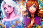 2girls anna_(frozen) blue_eyes disney elsa_(frozen) frozen_(disney) frozen_ii_(disney) long_hair looking_away multiple_girls nyamunekonabe orange_hair siblings sisters smile upper_body white_hair