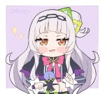 1girl bangs black_capelet blunt_bangs blush_stickers bow bowtie capelet chibi commentary english_commentary grey_shirt hair_cones hair_ornament hairband hololive kendama kukie-nyan long_hair long_sleeves looking_at_viewer murasaki_shion pink_neckwear purple_capelet shirt short_eyebrows side_bun sidelocks silver_hair smile smirk smug solo striped striped_shirt twitter_username vertical-striped_shirt vertical_stripes virtual_youtuber yellow_eyes