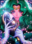 1girl bishoujo_senshi_sailor_moon blue_eyes bow choker gloves green_bow green_hair holding holding_mirror kaiou_michiru long_hair looking_at_viewer magical_girl mirror nyamunekonabe open_mouth petals sailor_neptune sparkle upper_body wavy_hair white_gloves