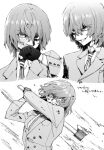 1boy akechi_gorou axe blood dirty dirty_clothes dirty_face eyebrows_visible_through_hair gloves greyscale grin hair_between_eyes highres holding holding_axe holding_weapon jacket long_sleeves maki_keigo male_focus monochrome multiple_views necktie persona persona_5 simple_background smile translation_request weapon wiping_face
