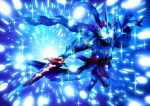 1boy armor blue_background blue_scarf blue_theme capelet commentary_request full_body holding holding_sword holding_weapon kamen_rider kamen_rider_saber kamen_rider_saber_(series) kamen_rider_xross_saber long_image male_focus mask otokamu rider_belt scarf sparkle sword tall_image weapon white_eyes