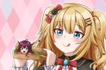 2girls absurdres ahoge akai_haato blonde_pubic_hair blush bow english_commentary food hair_ornament heart heart_hair_ornament heterochromia highres holding holding_food hololive hololive_english horns irys_(hololive) jan_azure licking_lips long_hair minigirl multiple_girls red_bow sandwich smile surprised tongue tongue_out two_side_up violet_eyes virtual_youtuber