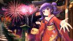 1girl 2021 bag bare_shoulders fire_emblem fire_emblem:_the_sacred_stones fire_emblem_heroes fireworks highres japanese_clothes kimono looking_at_viewer myrrh_(fire_emblem) mystic-san new_year night night_sky purple_hair red_eyes red_kimono shrine sky solo torii yukata