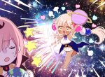 2girls barefoot breasts chibi dark_skin giant giantess hair_ornament hololive hololive_english large_breasts mamaloni mori_calliope multiple_girls pink_hair planet space star_(sky) sweatdrop throwing tsukumo_sana twintails yellow_eyes