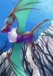 absurdres bare_tree closed_mouth colored_sclera commentary_request day from_below gen_6_pokemon green_sclera highres huge_filesize no_humans noivern outdoors pokemon pokemon_(creature) rikuya_(0325shs) sky solo tree white_fur yellow_eyes