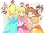 bare_shoulders blonde_hair blue_eyes blush breasts crown dark_pit dress earrings facial_hair gloves hair_over_one_eye hat highres jewelry kid_icarus kid_icarus_uprising kirby kirby_(series) long_hair looking_at_viewer mario super_mario_bros. medium_breasts multiple_girls mustache open_mouth pac-man pac-man_(game) pit_(kid_icarus) princess_daisy princess_peach riomario rosalina smile star_(symbol) star_earrings super_mario_bros. super_mario_galaxy super_smash_bros. video_game