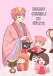 4girls brown_eyes brown_hair cake chibi commentary_request double_bun floral_background food green_eyes hair_ornament hakama highres hishimochi japanese_clothes kettle miki_(miki125dragon) mochi multiple_girls orange_hair original pink_hair plate red_hakama robe seiza sitting unmoving_pattern wide_sleeves