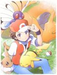 1boy baseball_cap blue_pants blush border brown_eyes brown_hair butterfree charizard closed_mouth collarbone commentary_request eevee gen_1_pokemon grass hand_up hat jacket looking_at_viewer male_focus nagi_(exsit00) on_head pants pikachu poke_ball poke_ball_(basic) pokemon pokemon_(creature) pokemon_(game) pokemon_frlg pokemon_on_head shirt short_hair short_sleeves sitting smile spiky_hair white_border wristband
