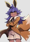 1boy absurdres bangs belt bright_pupils brown_coat closed_mouth coat commentary_request cosplay cowboy_shot crossed_arms dark-skinned_male dark_skin eevee eevee_(cosplay) eyelashes gen_1_pokemon highres leon_(pokemon) long_hair long_sleeves male_focus pokemon pokemon_(game) pokemon_ears pokemon_swsh pokemon_tail purple_hair shorts smile solo tail white_pupils yellow_eyes younger yunoru