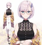 1girl alternate_costume bangs braid breasts bright_pupils crop_top earrings eyebrows_visible_through_hair feather_hair_ornament feathers glasses green_eyes hair_ornament hands_together highres hololive hololive_indonesia jewelry large_breasts mixed-language_commentary navel official_alternate_costume official_art pants pavolia_reine pochi_(pochi-goya) shawl smile white_pants white_pupils yellow_shawl