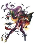 1girl bare_shoulders belt breasts bridal_gauntlets brown_eyes capelet earrings eyeshadow feather_trim feathers fire_emblem fire_emblem_echoes:_shadows_of_valentia fire_emblem_heroes full_body gem gold_trim gradient gradient_clothes highres jewelry lips long_hair makeup medium_breasts midriff official_art p-nekor pale_skin pantyhose shiny shiny_clothes sleeveless solo sonya_(fire_emblem) transparent_background violet_eyes