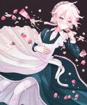 1boy apron bangs black_background commentary_request cream cream_on_face dangan_ronpa_(series) dangan_ronpa_2:_goodbye_despair dress food food_on_face frilled_dress frills fruit grey_apron grey_hair keroro7 komaeda_nagito long_sleeves looking_at_viewer lying maid maid_apron maid_headdress male_focus messy_hair on_back open_mouth pink_headwear sexually_suggestive short_hair simple_background solo strawberry tube