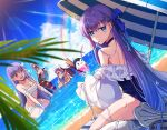 bandages bb_(fate) bb_(swimsuit_mooncancer)_(fate) beach breasts claws cup drinking_glass drinking_straw eyebrows_visible_through_hair fate/grand_order fate_(series) hair_ribbon heterochromia highres ice ice_cube kingprotea_(fate) long_hair looking_at_viewer looking_back maydream meltryllis_(fate) meltryllis_(swimsuit_lancer)_(fate) ocean one-piece_swimsuit open_mouth parasol partially_submerged passionlip_(fate) purple_hair rainbow ribbon sand sarashi sharp_teeth smile swimsuit teeth tentacles umbrella very_long_hair water wet