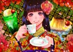 1girl bangs black_hair blunt_bangs cherry_blossoms cup dessert face flower food grin hair_flower hair_ornament holding holding_cup japanese_clothes kimono looking_at_viewer nyamunekonabe original petals plate print_kimono pudding saucer seigaiha smile solo teacup
