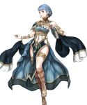 1girl alternate_costume armlet artist_request bangs bare_shoulders blue_hair book bracelet braid breasts brown_eyes crown_braid dancer dancer_(three_houses) earrings fire_emblem fire_emblem:_three_houses fire_emblem_heroes highres holding holding_book jewelry looking_at_viewer marianne_von_edmund medium_breasts parted_lips pelvic_curtain short_hair sideboob smile solo thighlet thighs transparent_background