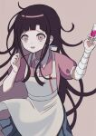 1girl absurdres apron bandaged_arm bandages bangs black_hair blood brown_background collared_shirt commentary_request cowboy_shot dangan_ronpa_(series) dangan_ronpa_2:_goodbye_despair dress_shirt green_skirt hands_up highres holding holding_syringe long_hair messy_hair mole mole_under_eye nk_(dzzx8334) open_mouth pale_skin pink_blood pink_eyes pink_shirt pleated_skirt puffy_short_sleeves puffy_sleeves purple_hair shiny shiny_hair shirt short_sleeves simple_background skirt solo syringe tsumiki_mikan white_apron