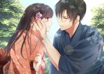 bangs black_hair blurry blurry_background couple day eye_contact flower hair_between_eyes hair_flower hair_ornament hetero izumi_(stardustalone) japanese_clothes kimono lens_flare long_hair looking_at_another obi original outdoors profile sash smile unmoving_pattern violet_eyes