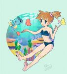 1girl air_bubble alternate_color bangs bare_arms barefoot blush bo9_(bo9_nc) bubble collarbone dated eyelashes full_body gen_1_pokemon gen_3_pokemon horsea index_finger_raised knees light_beam luvdisc misty_(pokemon) navel one_side_up open_mouth orange_hair pokemon pokemon_(creature) pokemon_(game) pokemon_rgby shiny_pokemon smile soles star_(symbol) swimsuit symbol-only_commentary tied_hair toes underwater