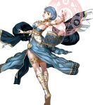 1girl alternate_costume armlet armpits artist_request bangs bare_shoulders blue_dress blue_hair book bracelet braid breasts brown_eyes crest_of_the_beast crown_braid dancer dancer_(three_houses) dress earrings fire_emblem fire_emblem:_three_houses fire_emblem_heroes highres jewelry looking_at_viewer magic_circle marianne_von_edmund medium_breasts short_hair sideboob solo thighlet thighs transparent_background twisted_torso