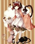 1girl alternate_costume animal animal_ears apron bangs black_footwear blush_stickers brown_dress cat cat_ears cat_girl cat_tail chabashira_tenko checkered checkered_scarf commentary_request dangan_ronpa_(series) dangan_ronpa_v3:_killing_harmony dress enmaided eyebrows_visible_through_hair food full_body glass gomabu_(rirurutennsi) grey_apron heart holding ice_cream long_sleeves looking_at_viewer maid maid_apron maid_headdress ouma_kokichi pantyhose redhead ribbon scarf shoes short_hair solo striped striped_background tail tail_ornament tail_ribbon tray vertical_stripes white_legwear wide_sleeves yumeno_himiko