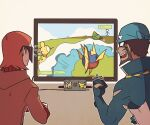 2boys :d archie_(pokemon) blue_bodysuit bodysuit brown_hair carvanha character_print clenched_hand coat commentary controller dark-skinned_male dark_skin eevee gen_1_pokemon gen_3_pokemon glasses holding holding_controller indoors long_sleeves male_focus maxie_(pokemon) metapod multicolored multicolored_bodysuit multicolored_clothes multiple_boys nintendo_switch numel open_mouth pikachu pokemon pokemon_(game) pokemon_oras sharp_teeth smile ssalbulre team_magma teeth television tongue torn_bodysuit torn_clothes wetsuit white_bodysuit